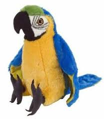 bird macaw parrot blue yellow soft toy