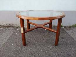 1970s teak and glass round coffee table
