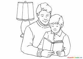 Hình tô màu hai cha con đang ngồi đọc sách