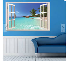 3d Hawaii Sea View Beach Window View Decal Wall Sticker