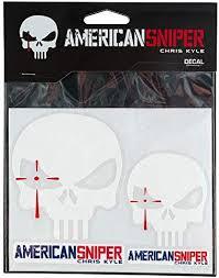 Amazon Com Chris Kyle Skull Decal White 2 Pack Clothing