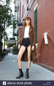 Model Teddy Quinlivan posing outside of the Self Portrait runway show Stock  Photo - Alamy