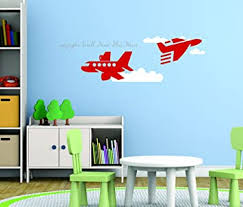 Wall Decor Plus More Wdpm3578 Airplane And Clouds Wall Decals Vinyl Stickers For Boys Room Or Playroom Red Planes White Clouds Amazon Com