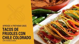 tacos de frijoles con chile colorado