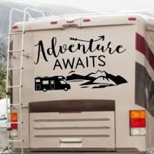 Adventure Awaits Rv Decal Custom Camper Decal Etsy Rv Decals Camper Rv Decor