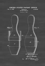 patent print wall decor bowling art