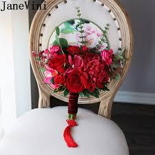 Janevini الصين القديمة الزفاف مروحة الورد الأحمر بورجوندي