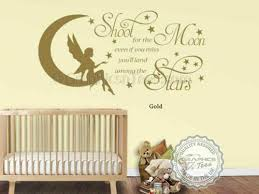 Shoot For The Moon Nursery Wall Sticker Baby Boy Girl Bedroom Wall Quote Decal Sfhs Org