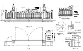Main Gate And Fence Elevation Plan And Installation Details Dwg File Main Gate Elevation Plan Gate Design