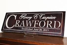 Wedding Gift Last Name Established For Couple Carved Wood Sign Decal Bravoodwooddesign On Artfire