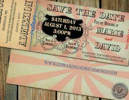 Circus Wedding Save The Date Baby Shower Ticket Invitation