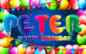 Download Wallpapers Happy Birthday Peter 4k Colorful Balloon Frame Peter Name Blue Background Peter Happy Birthday Peter Birthday Popular Bulgarian Male Names Birthday Concept Peter For Desktop Free Pictures For Desktop Free
