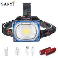 Đèn Pha LED Cao Cấp USB Sạc Đèn Âm Trần COB Góc Rộng Đầu Đèn Đèn Pin 3 Chế  Độ Đèn Lồng Cắm Trại 2X18650 phía Trước Đèn|phía trước đèn
