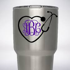 Amazon Com Nurse Rn Stethoscope Your 3 Initials Monogram Vine Decal For Yeti Rambler Tumbler 20 Oz 30 Oz Dr Doctor Handmade