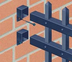 Use A Fixed Bracket And Painted Screws To Attach A Steel Or Aluminum Fence To A Brick Wall Tip Use Adjustable Mo Modern Fence Design Metal Fence Fence Design