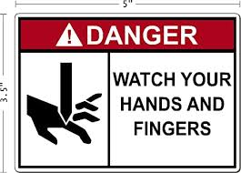 Amazon Com Danger Watch Your Hands And Fingers Safety Decal Decal Sticker Placard 5 W X 3 5 H Everything Else