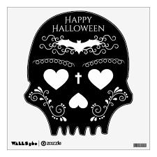 Happy Halloween Spooky Cute Gothic Sugar Skull Wall Decal Zazzle Com
