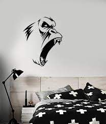 Vinyl Wall Decal Evil Gorilla Monkey Animal Fangs Stickers 3638ig Wallstickers4you