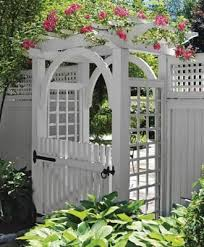 Garden Arbor With Arch And Walk Gate Wood Arbors Vinyl Arbors From Walpole Outdoors Garden Archway Garden Gates And Fencing Garden Gates