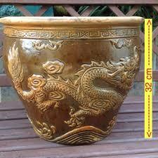 dragon engrave flower pot gardening