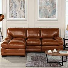 brown leather sectional sofa couch with