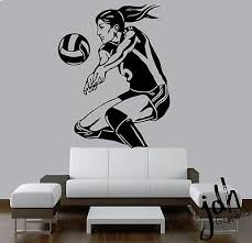 Volleyball Girl Vinyl Wall Decal Sticker Sports Girls Room Decor Beach Bedroom Ebay