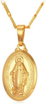 u7 virgin mary necklace 18k gold plated