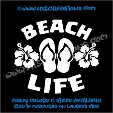 Beach Life Flip Flops Hibiscus Flower Summer Vinyl Decal
