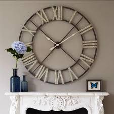 clock over fireplace very large wall