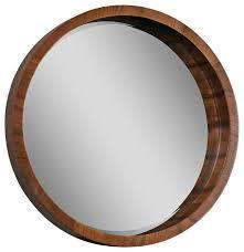 brynjar 33 round mirror walnut veneer