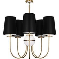 black shade aged brass chandelier