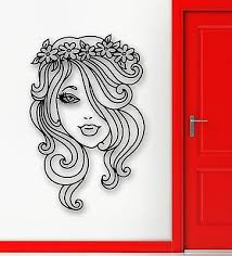 Home Garden Decals Stickers Vinyl Art Wall Stickers Vinyl Decal Beautiful Woman Profile With Flower Long Hair Em418 Magnumcap Com