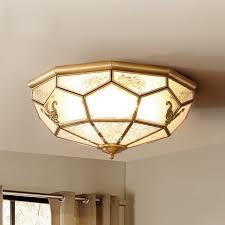 Solid Brass Carved Antique Ceiling Lights Golden Flush Mount Chandelier Unique Kids Room Glass Light Cover