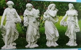 statue garden white concrete cm 42x150h