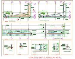 glass railing detail autocad dwg
