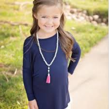 lace hem tunic navy from ryleigh rue