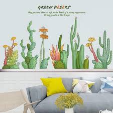 Cactus Wall Decals Elegant Flowers Living Room Mural Tropical Green Plants Home Decor Vinyl Wall Stickers Creative Greener Art Thefuns On Artfire