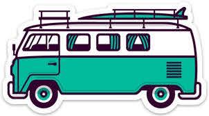 Amazon Com Stickeroonie Classic Surf Van Bus Sticker Decal 5 X 2 73 Aloha Sea Green Hippie Travel Outdoor Adventure Kitchen Dining