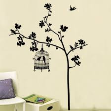 Tree Birdcage Wall Sticker Diy Removable Wall Decal 90cm By 60cm Wish