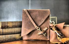 pouch with antique skeleton key clasp