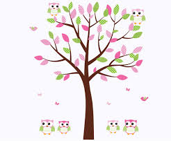 Amazon Com Owl Wall Art Pink And Green Owls Owl Decals With Fabric Tree Baby