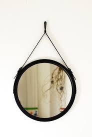 black round mirror paris leather