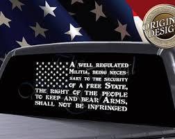 Second Amendment Flag Decal American Flag Decal Car Truck Window Decal American Flag S American Flag Decal American Flag Decal Cars American Flag Sticker