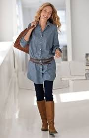 leggings-with-a-tunic-or-dress.jpg 192×295 pixels | Dresses with leggings, Long denim shirt, How to wear leggings