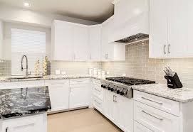 white shaker kitchen cabinets with gray