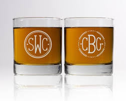 monogram whiskey glass personalized