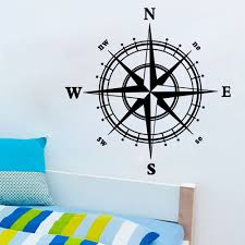 Compass Wall Decal Sticker Vinyl Decor Mural Bedroom Kitchen Art Map Travel V1403 In 2020 Wall Stickers Bedroom Removable Vinyl Wall Decals Nautical Wall Decor
