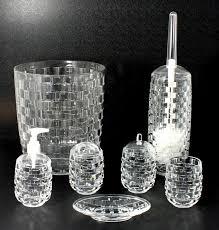 basket weave clear bathroom accessories
