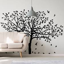 Tree Sticker Decal Wall Birch Art Vinyl Nursery Stickers Nature Botanical Trees Decals Forest Decor Natural Big Leaf Peel And Stick Decords Tm