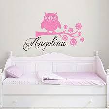 Amazon Com Wall Decals Personalized Name Owl Vinyl Sticker Decal Custom Name Girls Boys Initial Monogram Children Baby Decor Nursery Kids Room Bedroom Art Ns123 Home Improvement